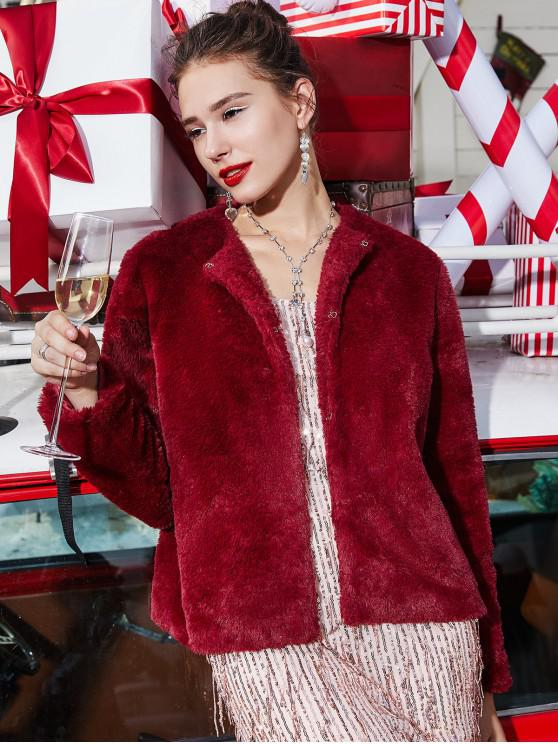 trendy ZAFUL Christmas Plush Faux Fur Hook and Eye Fluffy Coat - RED WINE M