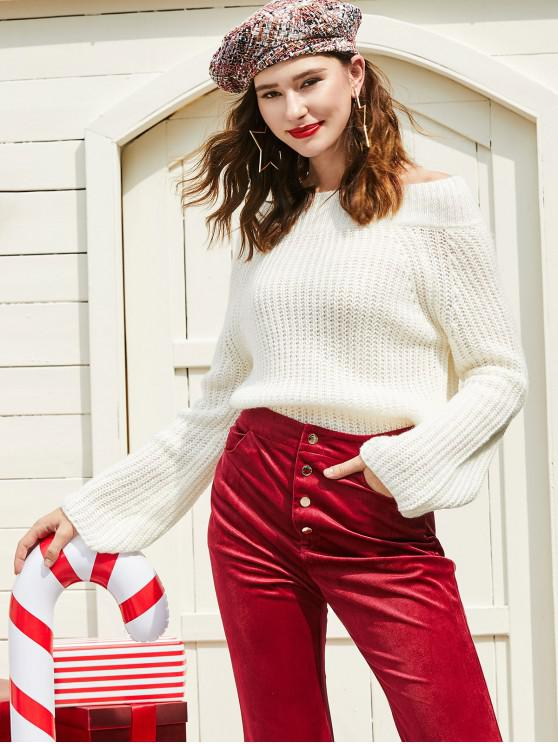 fancy ZAFUL Off Shoulder Solid Chunky Sweater - WARM WHITE S