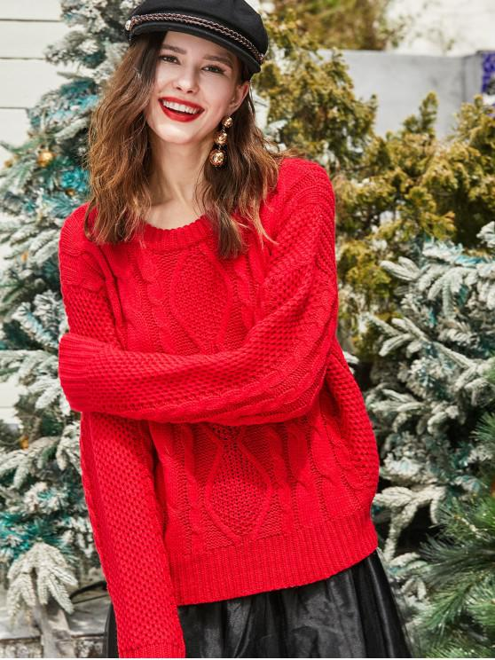 womens ZAFUL Christmas Cable Chunky Knit Drop Shoulder Sweater - LAVA RED M