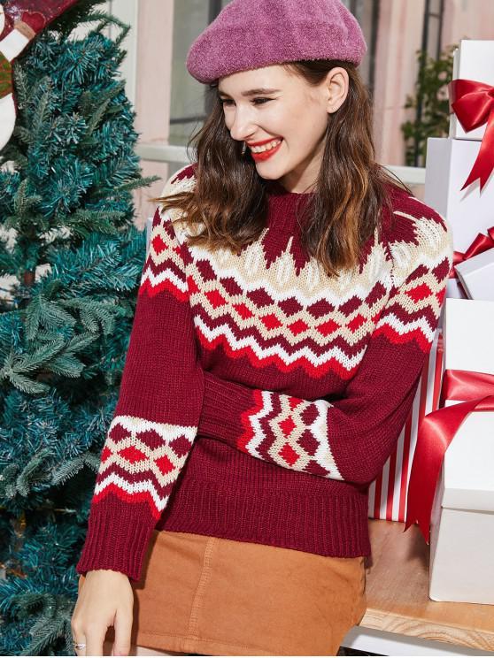 women's ZAFUL Mock Neck Intarsia Knit Graphic Christmas Sweater - MULTI M
