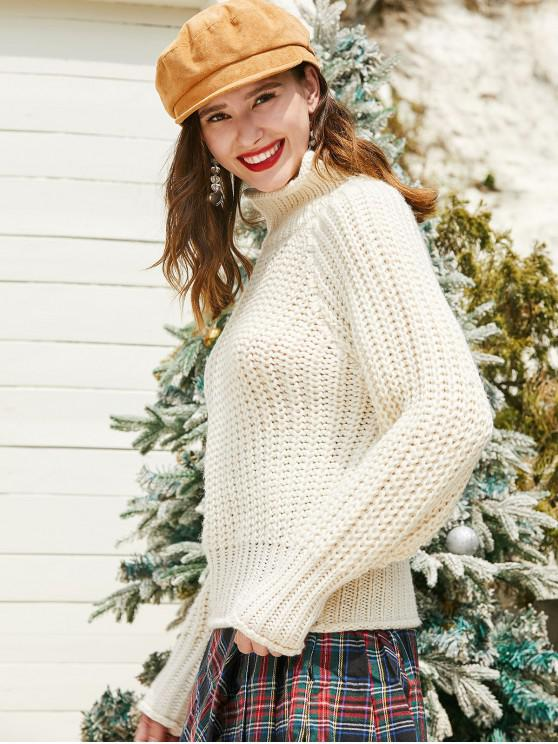 hot ZAFUL High Neck Solid Chunky Knit Sweater - WARM WHITE L