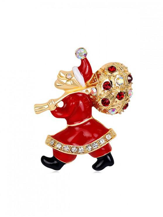 latest Christmas Santa Claus Rhinestone Brooch - GOLD