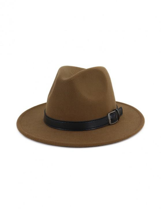 chic Floppy Woolen Belt Jazz Hat - KHAKI