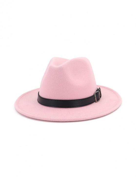 unique Floppy Woolen Belt Jazz Hat - LIGHT PINK