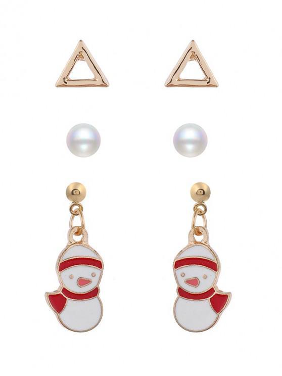 sale Deer Snowman Pattern Earrings - MULTI-D