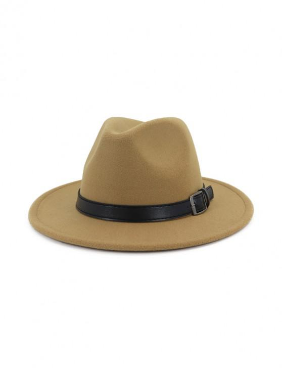 affordable Floppy Woolen Belt Jazz Hat - LIGHT KHAKI