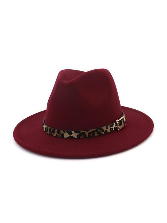 women Floppy Woolen Jazz Hat - RED WINE