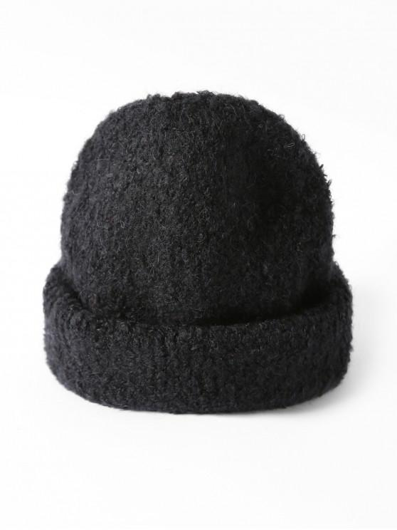 lady Solid Unisex Knitted Skullcap Hat - BLACK