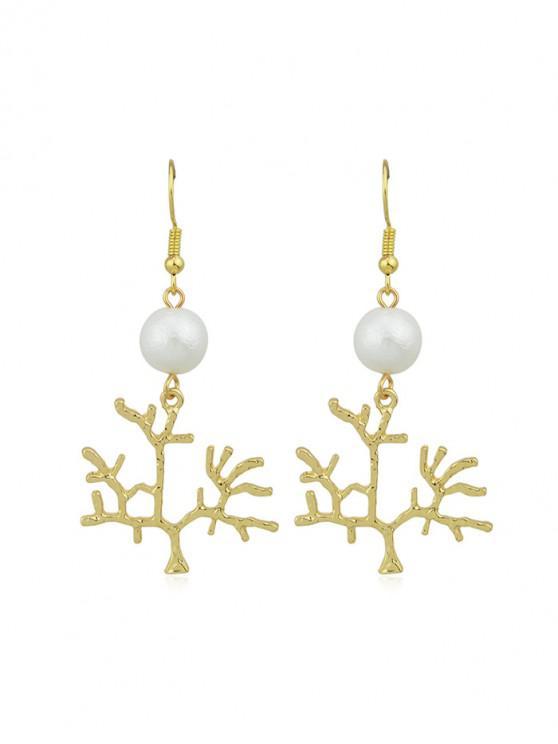聖誕樹人造珍珠耳環 - 金