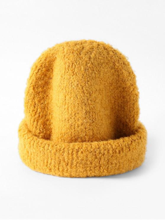 online Solid Unisex Knitted Skullcap Hat - YELLOW