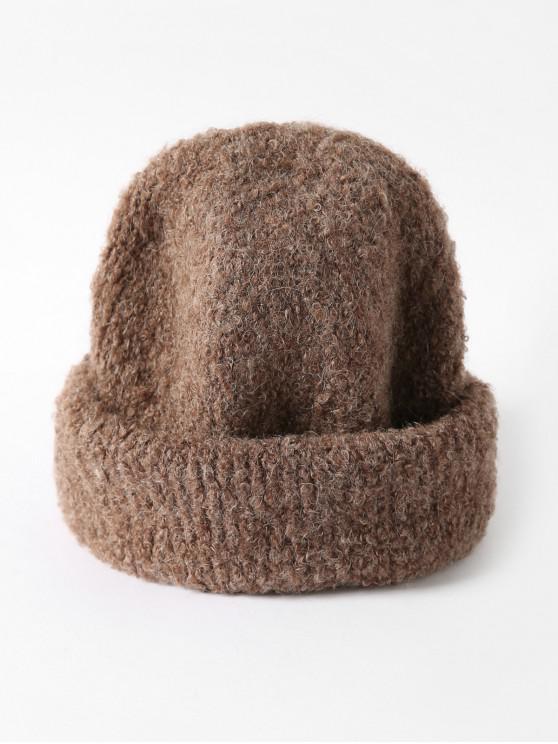 Chapeau d'Hiver Tricoté en Couleur Unie Unisexe - Café
