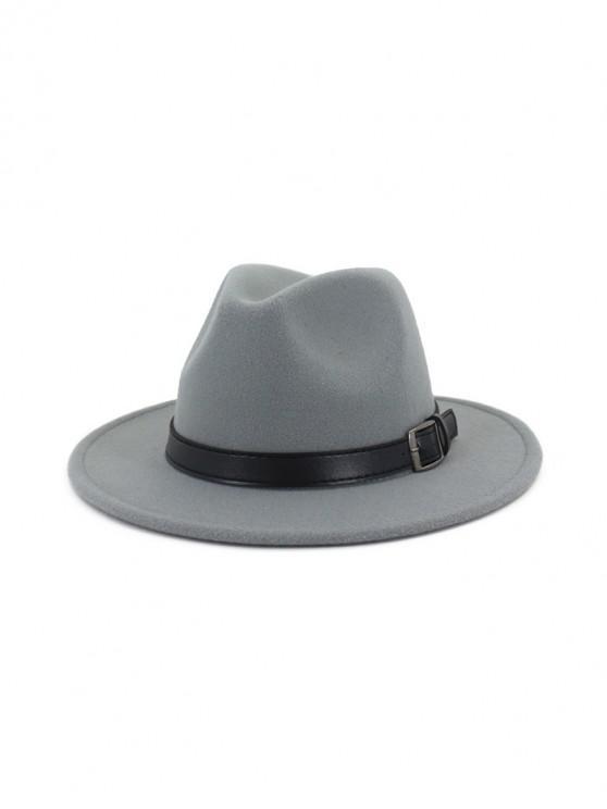 trendy Floppy Woolen Belt Jazz Hat - LIGHT GRAY