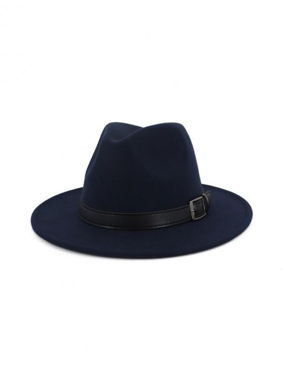 fashion Floppy Woolen Belt Jazz Hat - CADETBLUE