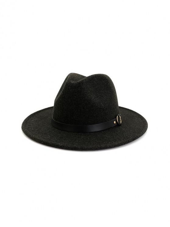 unique Buckle Belt Flat Brim Jazz Hat - BLACK