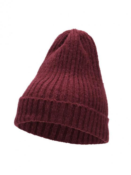 online Knitted Chic Braid Winter Hat - RED WINE
