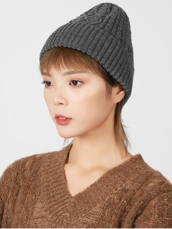 new Rhombic Pattern Winter Knitted Hat - GRAY