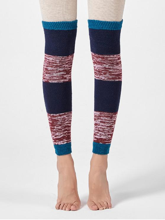 hot Striped Knitted Winter Sleeve Socks - CADETBLUE