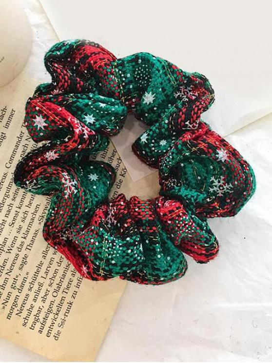 outfits Christmas Plaid Snowflake Elastic Scrunchy - GREEN