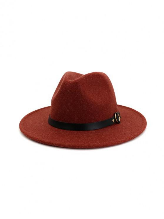 shops Buckle Belt Flat Brim Jazz Hat - RED WINE