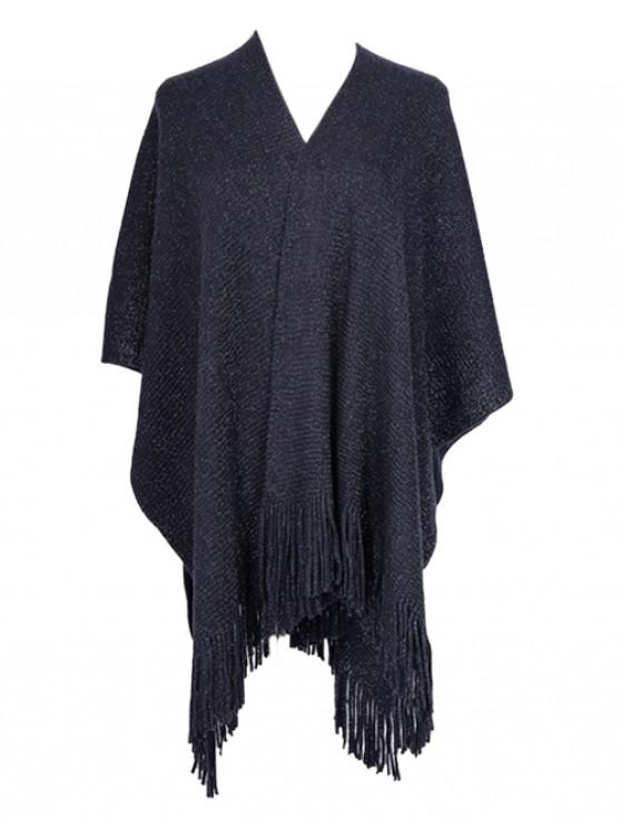 latest Solid Fringe Metallic Split Shawl - CADETBLUE REGULAR