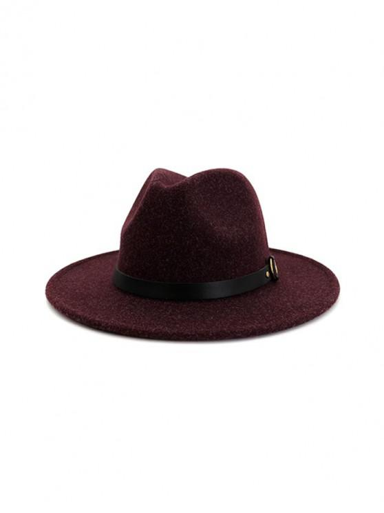 trendy Buckle Belt Flat Brim Jazz Hat - PURPLE
