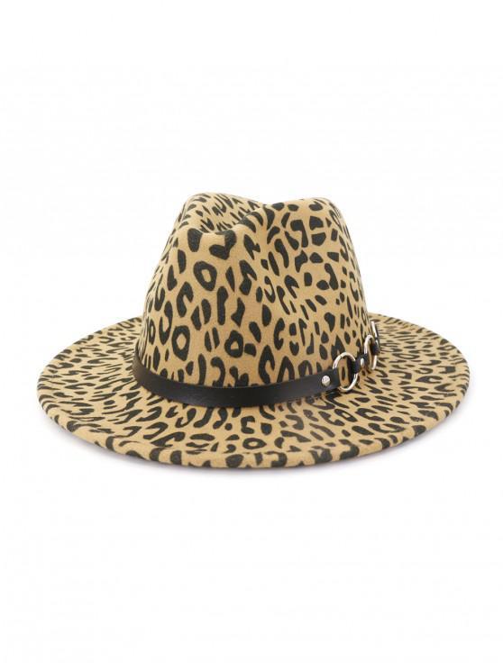 fashion Winter Leopard Pattern Flat Brim Jazz Hat - LIGHT KHAKI