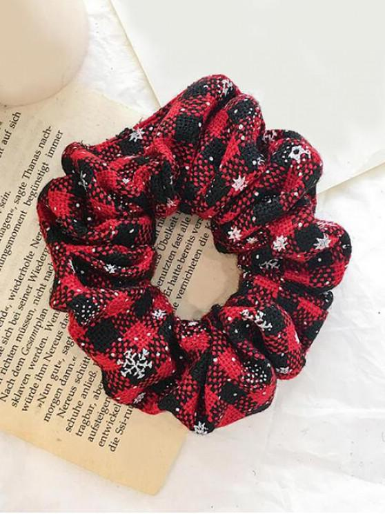 fancy Christmas Plaid Snowflake Elastic Scrunchy - BLACK