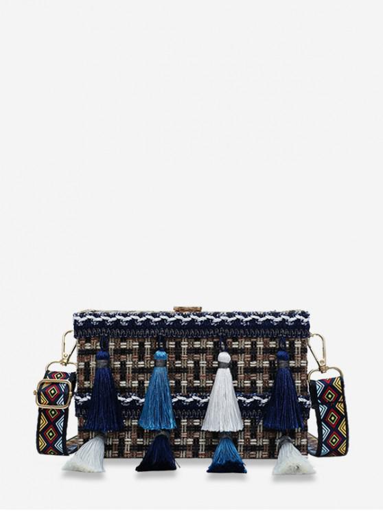 sale Ethnic Plaid Tassel Square Shoulder Bag - BLACK