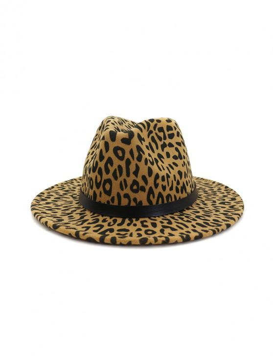 best Leopard Print Felt Jazz Hat - LIGHT KHAKI