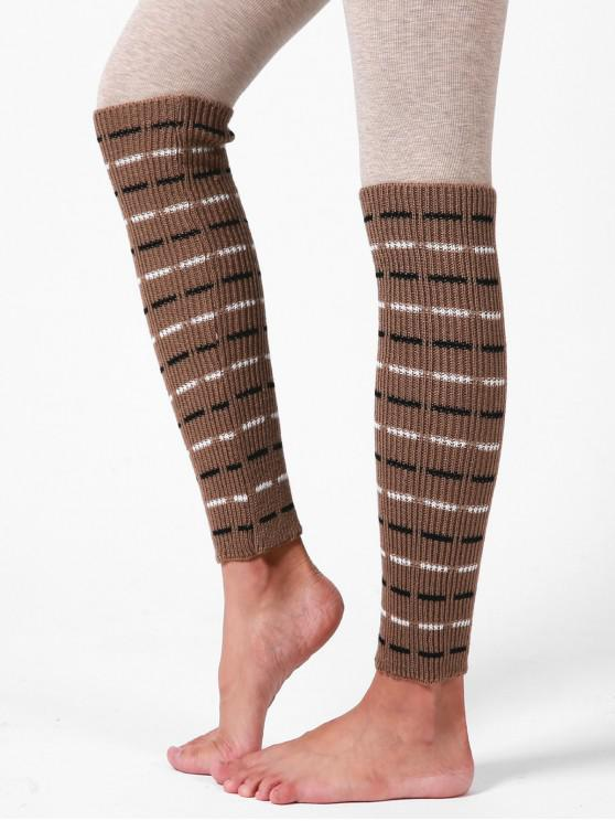 new Striped Woolen Yarn Sleeve Socks - KHAKI