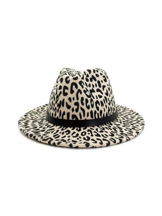 fashion Leopard Print Felt Jazz Hat - BEIGE