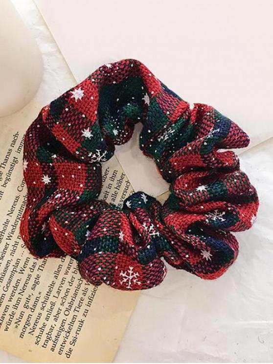 chic Christmas Plaid Snowflake Elastic Scrunchy - CADETBLUE