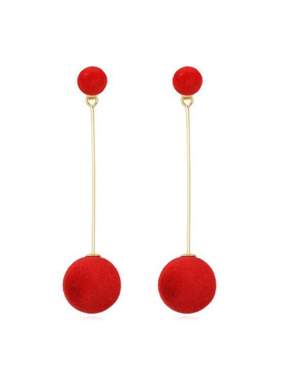 buy Christmas Fuzzy Ball Dangle Earrings - LAVA RED