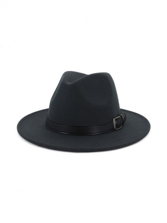 women's Floppy Woolen Belt Jazz Hat - DARK GRAY
