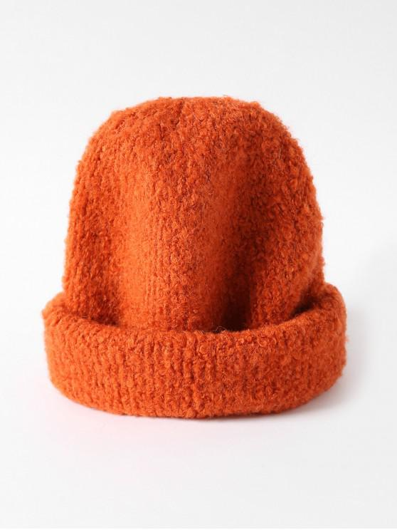ladies Solid Unisex Knitted Skullcap Hat - TANGERINE