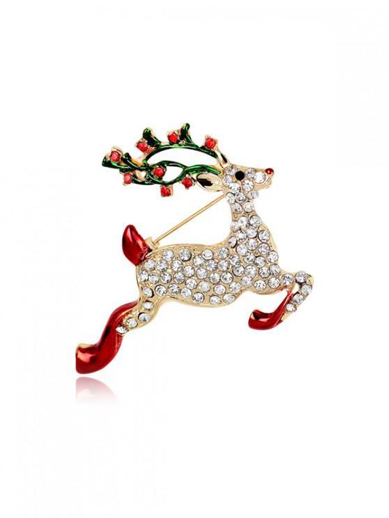 best Christmas Deer Rhinestone Brooch - GOLD