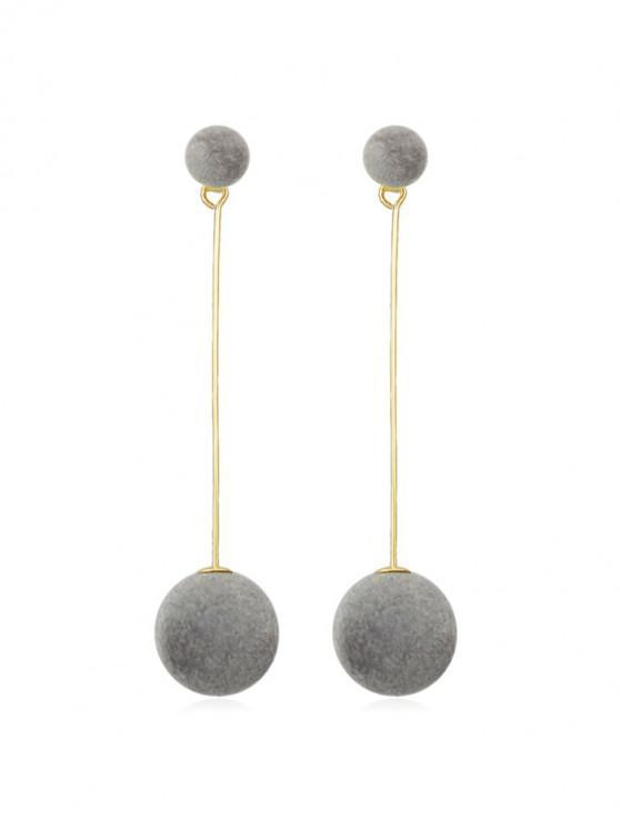 hot Christmas Fuzzy Ball Dangle Earrings - GRAY