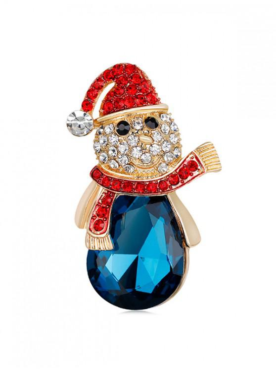 shop Christmas Snowman Rhinestone Brooch - GOLD