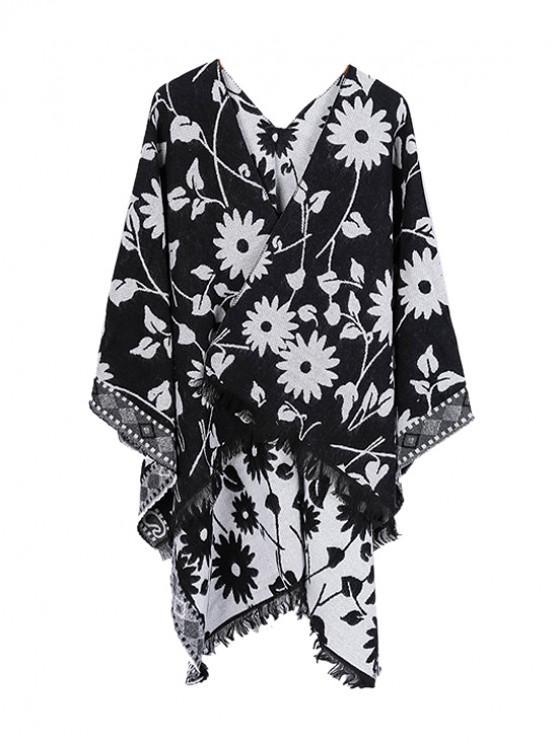 fashion Ethnic Flower Fringe Split Shawl - BLACK REGULAR