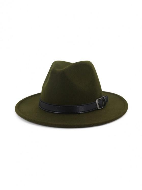 chic Floppy Woolen Belt Jazz Hat - ARMY GREEN