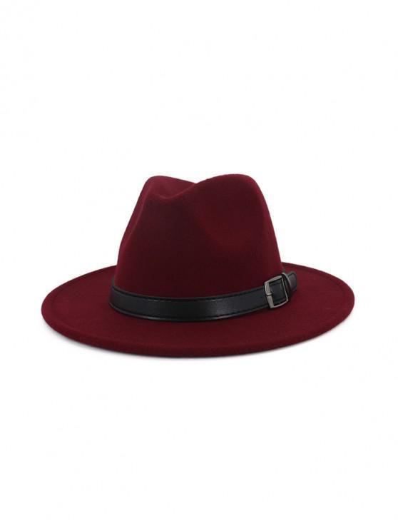 fancy Floppy Woolen Belt Jazz Hat - RED WINE