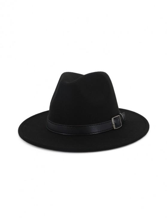 unique Floppy Woolen Belt Jazz Hat - BLACK