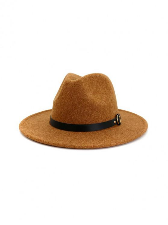 sale Buckle Belt Flat Brim Jazz Hat - KHAKI