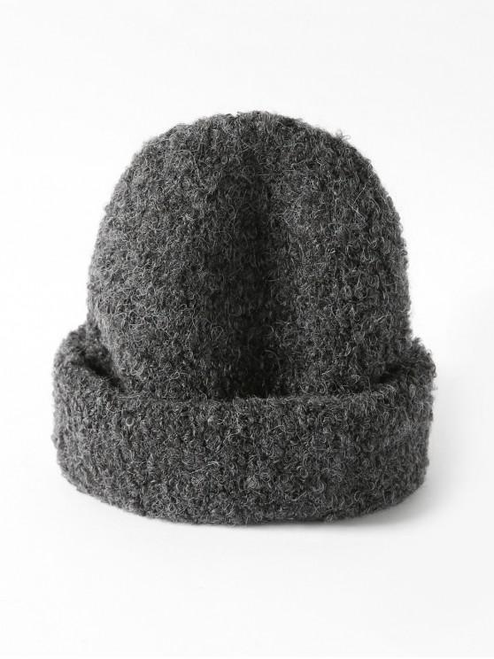 womens Solid Unisex Knitted Skullcap Hat - DARK GRAY