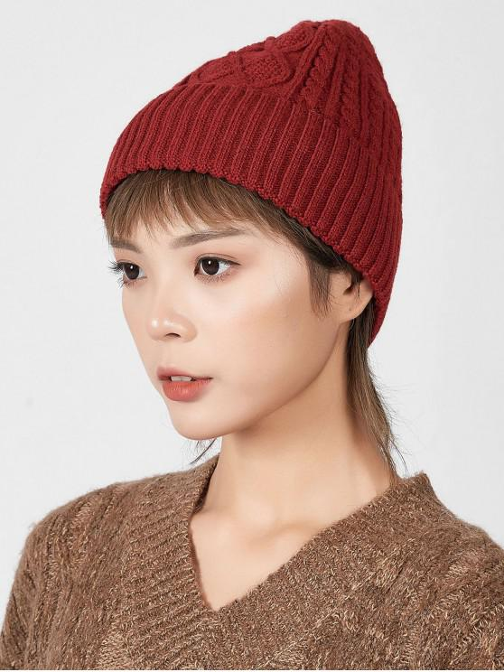 women Rhombic Pattern Winter Knitted Hat - RED