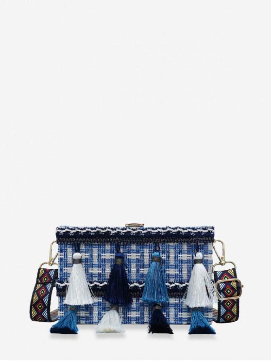 best Ethnic Plaid Tassel Square Shoulder Bag - SILK BLUE