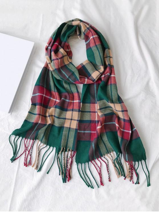new Plaid Fringe Faux Cashmere Long Scarf - ARMY GREEN