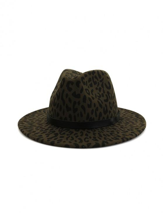 outfit Leopard Print Felt Jazz Hat - ARMY GREEN