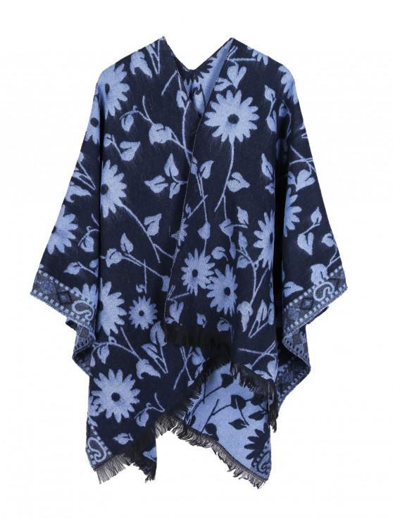 outfits Ethnic Flower Fringe Split Shawl - OCEAN BLUE REGULAR