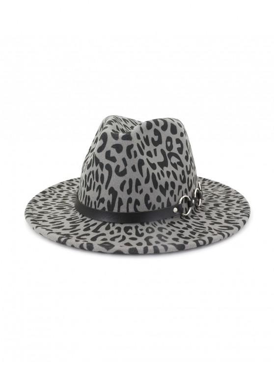 trendy Winter Leopard Pattern Flat Brim Jazz Hat - GRAY